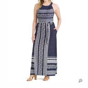 Navy mixed print maxi dress